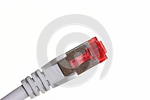 Red ethernet connector RJ45 plug with cable