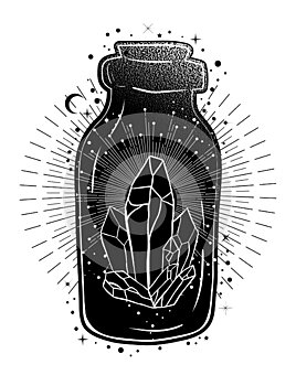 Magic potion: bottle jar with crystals inside. Tattoo art style illustration. Bohemian and gypsy motifs