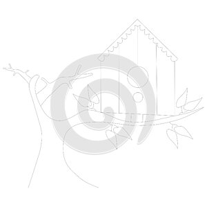 Bird`s house colouring page