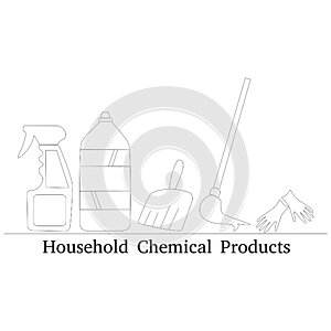 Household Cleaning products icon in filled, thin line, outline and stroke style