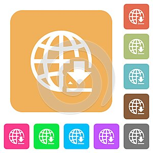 Download from internet rounded square flat icons