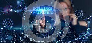 Influencer marketing concept. Business, Technology, Internet and network concept