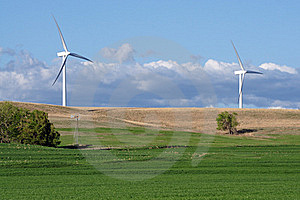 New windturbines and Old Windmill