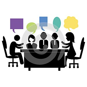 Business people feed back