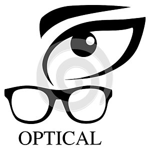 Optical glasses icon with eye