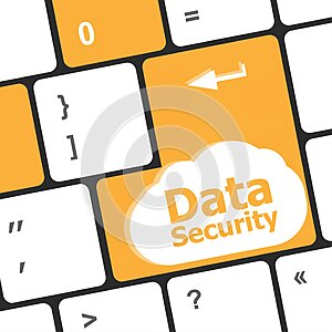 Data security word with icon on keyboard button
