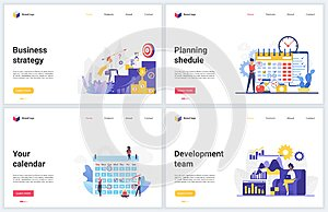 Business strategy, success plan vector illustrations, achieving successful goal business results through planning