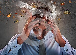 Head explosion of a stressed and tired businessman due to overwork.