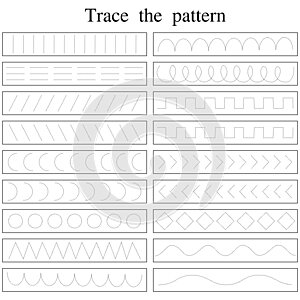 Tracing lines with early education worksheet for kids