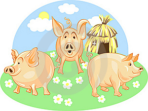 vector Three little pigs