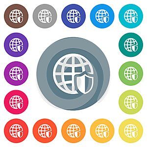 Internet security flat white icons on round color backgrounds