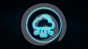 Cloud computing concept. Business, technology, internet and networking concept. Neon sign