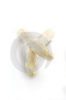 Beautiful white jumbo asparagus close up shoot