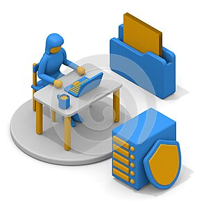 Save the data to storage. Document data and file folders. Security and hard disk. isometric