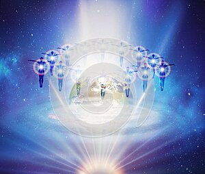 Collective souls, divine intervention, synchronicity, giving blessings, watching over Earth planet in space, orbit, earth healing