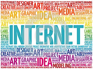 INTERNET word cloud collage