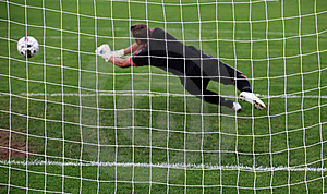 Goalkeeper diving save