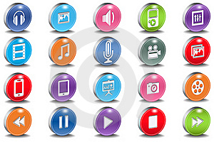 Vector 3d Oval Multimedia Bevel Shiny Icons