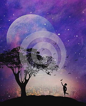Spiritual release, inner child,dreams,hope, wishes, child catching a bird, faith, destiny, full moon, night sky, nature background