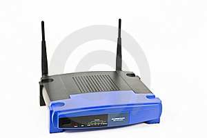 Blue internet router with two antennas