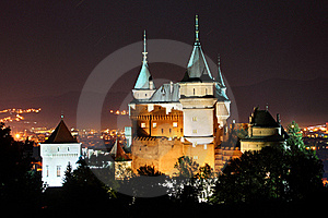 Bojnice castle at night