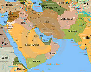 Map Middle East vector detailed cover photo 21126497
