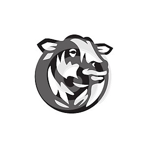 Vector of a cow head design on white background. Farm Animal