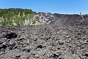 Hardened lava on volcano slope of Etna, Sicily