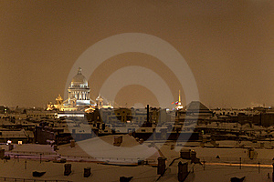 St. Isaac's Cathedral in St. Petersburg night