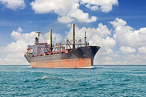 Cargo ship at open sea