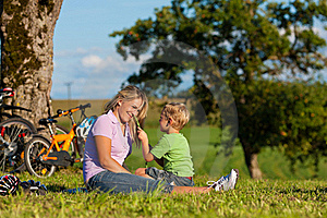 Family on getaway with bikes