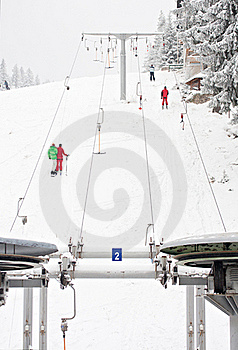 Winter ski lift snow sport people