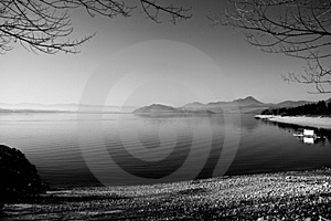 Lake in black and white