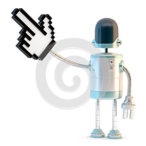 Robot with pointing finger. 3D illustration. Isolated