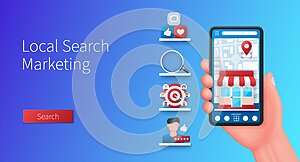Local search marketing banner in 3D style