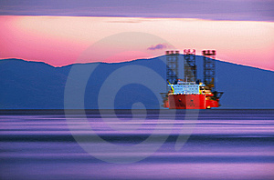 Cargo Ship in Sunset colors