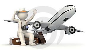 3d tourist man waving on suitcase