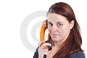 Girl with orange retro telephone