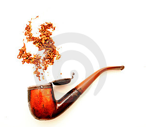 Pipe and tobacco above