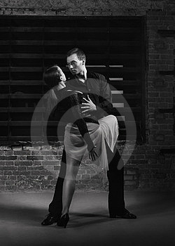 Tango dancers in action