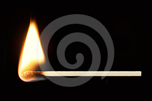 Burning Match Horizontal over Black