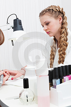 Manicure at the beauty salon