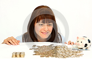 Woman and coins