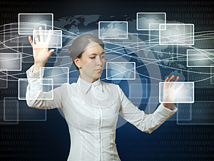 Woman pushing icons in web interface
