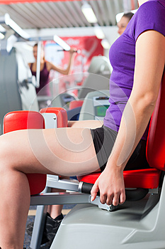 Gym people doing strength or fitness training