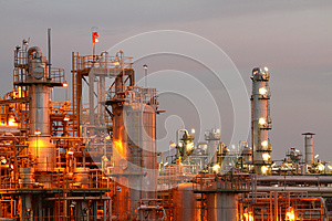 Petrochemical industry on sunset.
