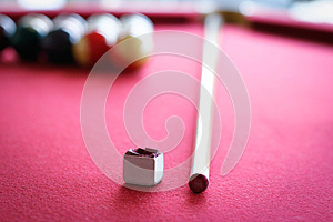 Pool Table, Stick and Chalk