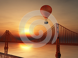 Hot Air Balloon and Golden Gate