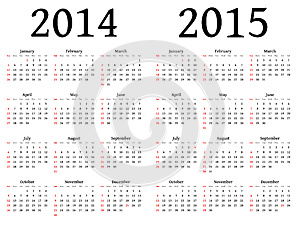 yearly calendar 2014 and 2015