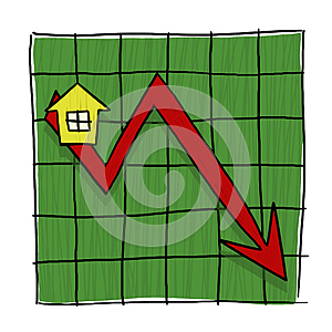 House prices going down illustrated graph